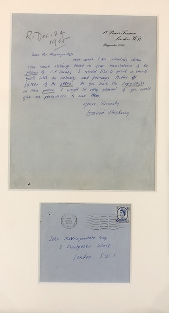 David Hockney, 'A signed letter by David Hockney on his intention to create the Cavafy Etchings', 1965, Mr & Mrs Clark's