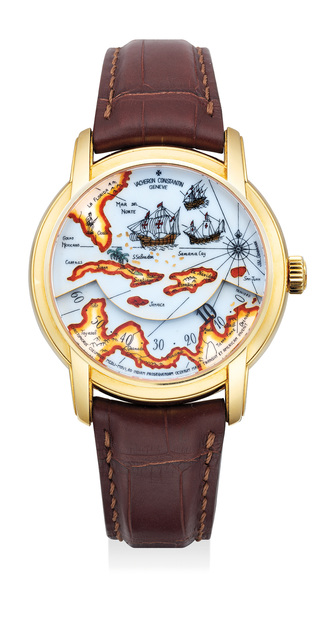 Vacheron & Constantin, 'A fine and rare limited edition yellow gold wristwatch with grand feu enamel dial, wandering hour display, certificate and presentation box, limited edition of 60 pieces', 2013, Phillips