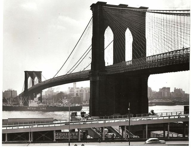 , 'Mitsui Line ship passing under Brooklyn Bridge on the East River,' 1954, GALLERY M