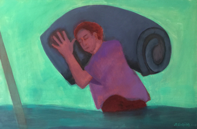 , 'Inundados: hombre con colchón,' 2013, Casas Riegner