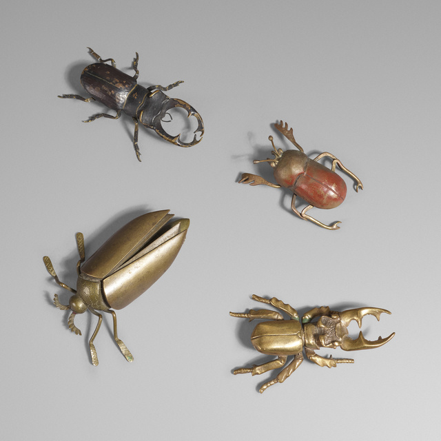 'Collection of four bronze beetles', c. 1920, Sculpture, Cast bronze, enameled bronze, red coral gemstone, Rago/Wright