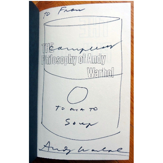 ", '""Campbell's Soup Can"", 1975, Drawing/Signed Book, ""The Philosophy of Andy Warhol"",' 1975, VINCE fine arts/ephemera"