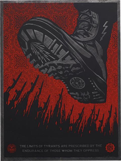 Shepard Fairey, 'TYRANT BOOT METAL', 2010, Print, Silkscreen on aluminium, Phillips