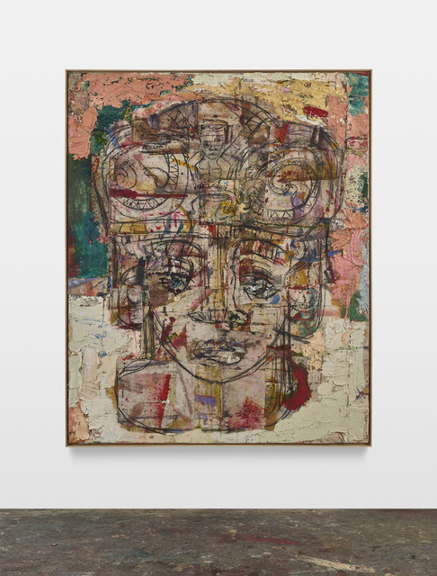 Daniel Crews-Chubb, 'Head (Serpents and drummer, pink, green, yellow)', 2020, Painting, Oil, oil stick, pastel, acrylic, ink, charcoal, spray paint, coarse pumice gel and collaged fabrics on canvas in artist's frame, Timothy Taylor
