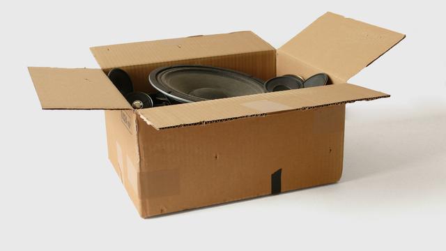 , '19 speakers in a cardboard box,' 2008, bitforms gallery