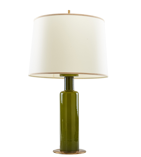 Stilnovo, 'Stilnovo Table Lamp', 1950s, Design/Decorative Art, Chartreuse glass with brass accents, Italy, Rago/Wright