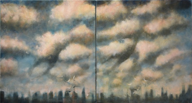, 'Double clouds over the City (diptych),' 2015, Marlborough London