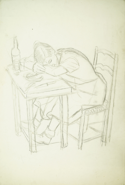 Marie Vorobieff Marevna, 'Woman resting her head on a table, 1945, (recto), Woman knitting, (verso)', Roseberys