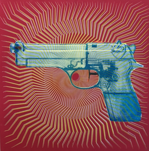 , 'Blue water pistol on red,' 2015, Artêria