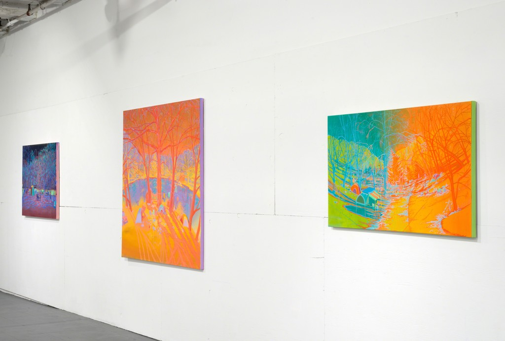 Three paintings by Jen Hitchings.