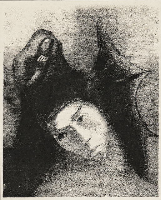 Odilon Redon, 'Quel est le but de tout cela?, from Tentation de Saint-Antoine', 1896, Print, Lithograph on chine volant, Skinner