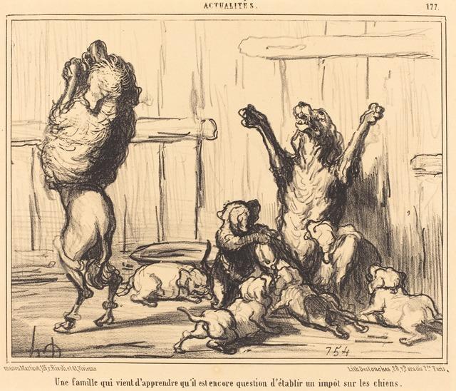 Honoré Daumier, 'Une Famille qui vient d'apprendre...  un impot sur les chiens', 1855, National Gallery of Art, Washington, D.C.