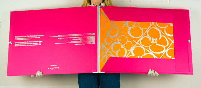 Judy Ledgerwood, 'Chromatic Patterns After the Graham Foundation', 2014, Books and Portfolios, A deluxe portfolio of three prints by Judy Ledgerwood, and a poem by John Yau printed in silkscreen housed in a custom portfolio case., Manneken Press
