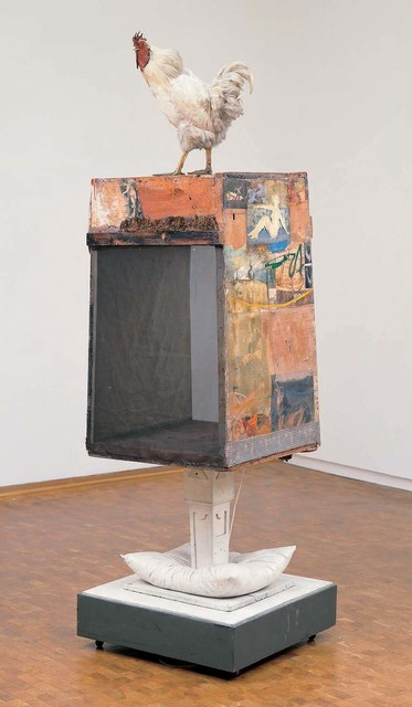 Robert Rauschenberg, 'Odalisk', 1955/1958, Combine: oil, watercolor, pencil, crayon, paper, fabric, photographs, printed reproductions, miniature blueprint, newspaper, metal, glass, dried grass, and steel wool with pillow, wood post, electric lights, and rooster on wood structure mounted on four casters, Robert Rauschenberg Foundation