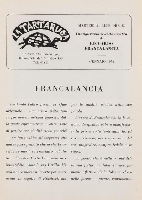 Riccardo Francalancia, 'Bollettino', Finarte