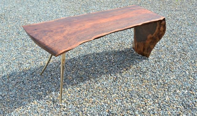 , 'Cast/Slab Desk, Claro Walnut, Linea Leg,' , blankblank