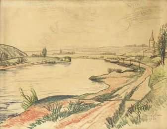 River landscape with a church
