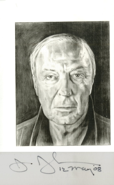 Jasper Johns, 'Card depicting portrait of the artist by Phong Bui (hand signed and dated by Jasper Johns)', 2008, Alpha 137 Gallery