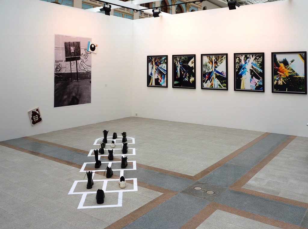 Stand view with Hopscotch installation by Alexandra Galkina (bottom center), Untitled by Alexandra Galkina and Sergei Sapozhnikov (left) and Failed Views series by Sergei Sapozhnikov (right)