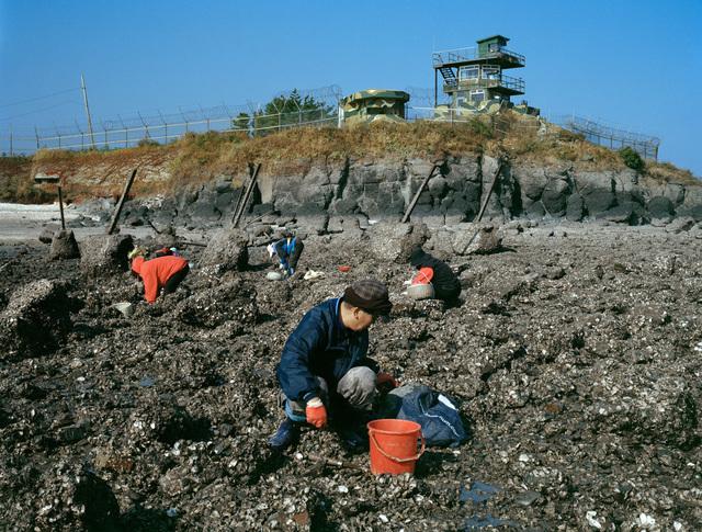 , 'Locals harvesting oyster, North Hani Beach with Dragon's Teeth and South Korean Army post, Baengnyeongdo,' 2014, Ronald Feldman Gallery