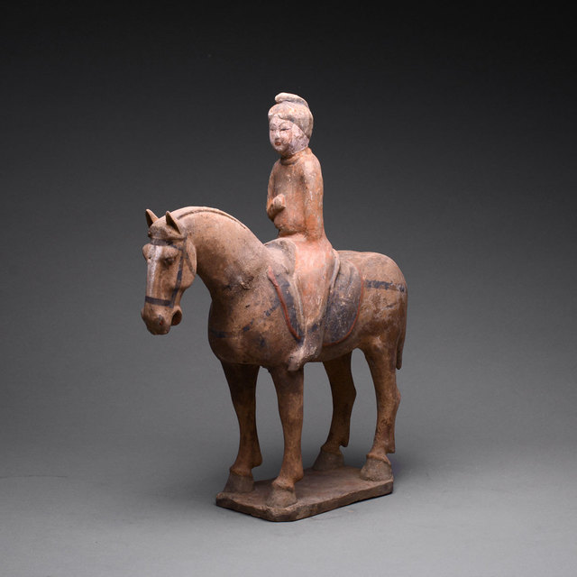 Tang Dynasty, 'Tang Polychrome Horse and Female Rider', 618 AD to 906 AD, Barakat Gallery