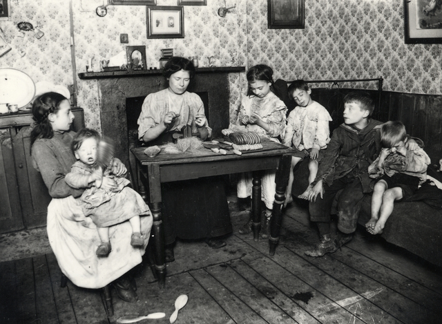 , 'Family making hairbrushes c1902 East End of London  Courtesy of the Bishopsgate Institute,' 1902, The Photographers' Gallery