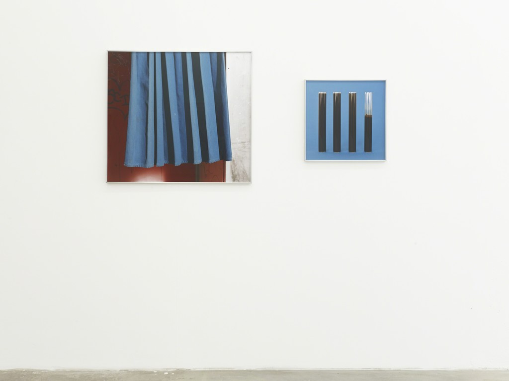 blue curtain / black stripes cluster, 2014, digital c-print, 80 x 73 cm; 45,2 x 45,2 cm, exhibition view at Klemm's, Berlin 2014