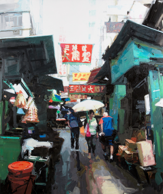 , 'Street scene, green and red, Hong Kong,' 2013, DELAHUNTY