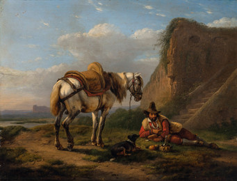 Traveler with his Horse and Dog at Rest beside a Wall,