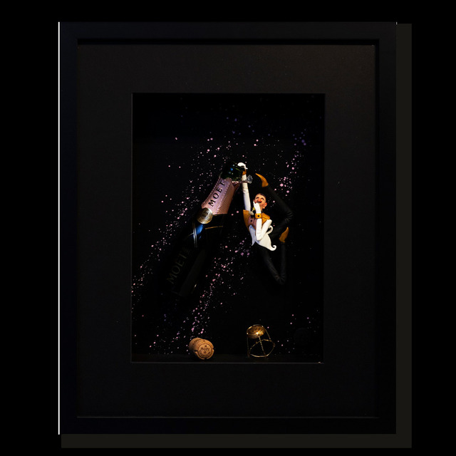 Kunst met een R, 'Champagne Jumper Pink', 2020, Drawing, Collage or other Work on Paper, 3D Shadow Box, Eden Fine Art