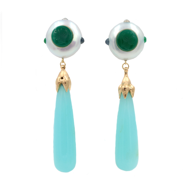 , 'Chalcedony Pearl Emerald Moonstone Onyx Gold Earrings ,' , form & concept
