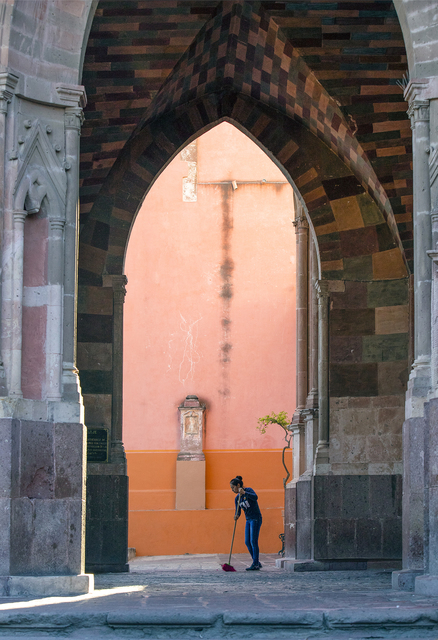 Larry Garmezy, 'Angel of San Miguel - Architectural photography, portrait photography, San Miguel de Allende, Mexico, with coral highlights.', 2019, Archway Gallery