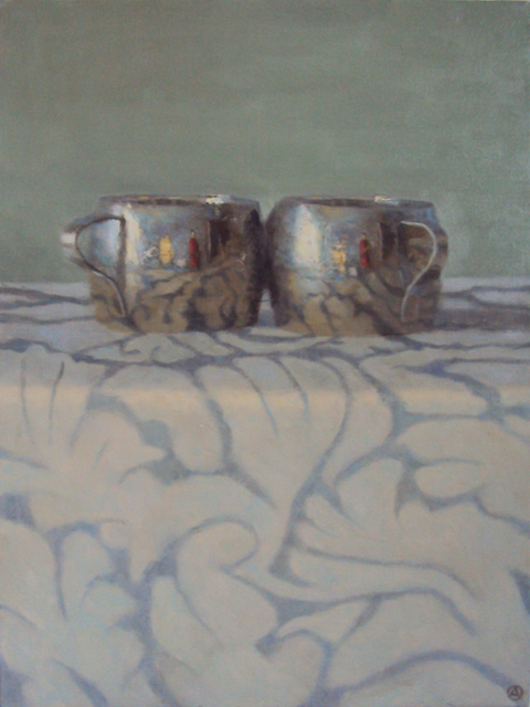 , 'Silver Cups On Patterned Cloth,' 2015, Gallery Henoch