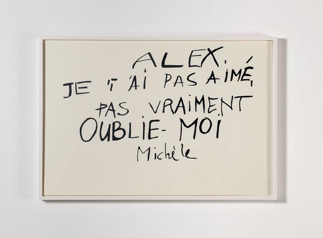 , 'Lettre de Michèle, from Les Amants du Pont-Neuf (1991),' 2013-2014, Albert Baronian