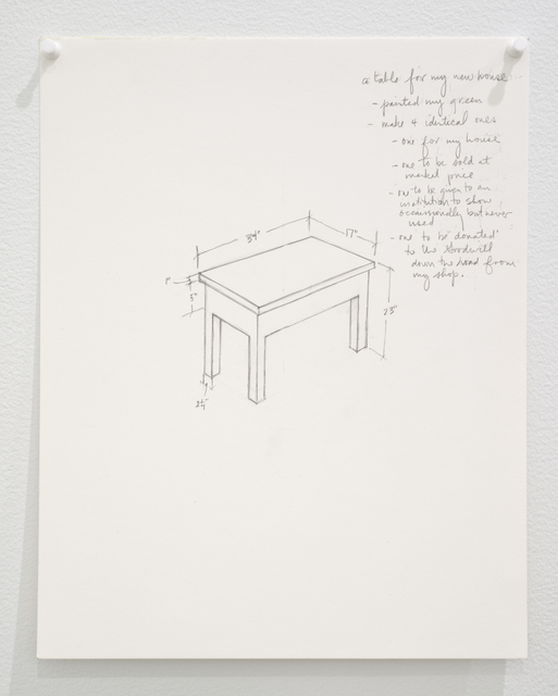 Roy McMakin, 'Untitled (a table for my new house...)', 2015, Lora Reynolds Gallery