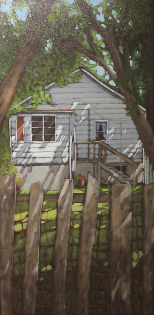 Kari Duke - The Old Fence - 48x24 - oil on canvas - 2017
