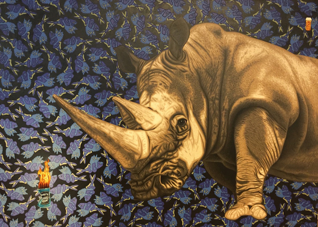 Stephen Hall, 'Painting of Rhino with a can of Heniz beans: 'The Pills Don't Seem To Be Working'', 2015, Ivy Brown Gallery