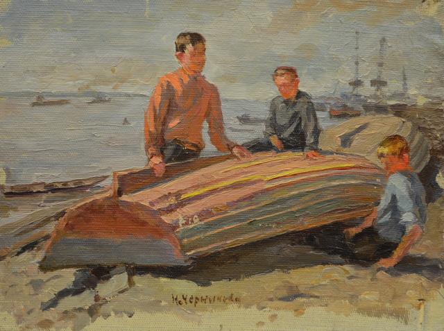 Nadezhda Eliseevna Chernikova, 'Children playing with the boat', 1947, Surikov Foundation