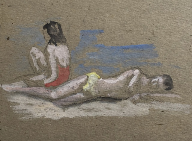 , 'Figures at the Beach,' Mid 20th c., Bakker Gallery