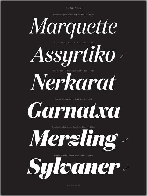 , 'Specimen, Domaine Display Italic typeface,' 2013, Cooper Hewitt, Smithsonian Design Museum