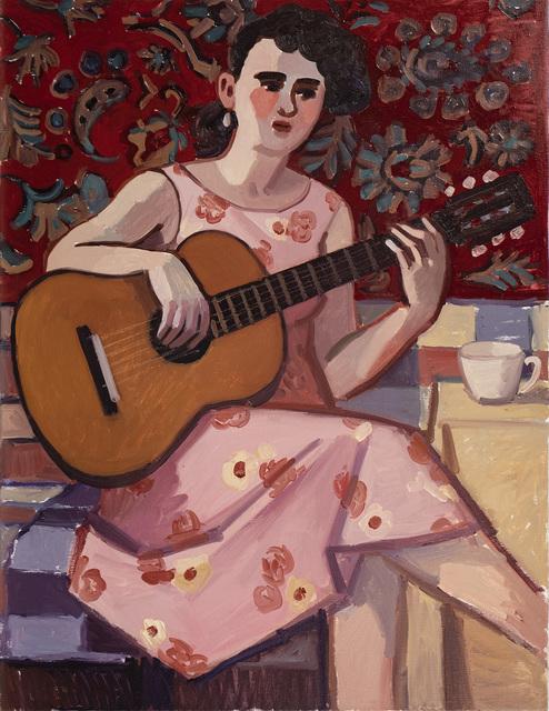 Zoya Cherkassky-Nnadi, 'Woman Playing Guitar', 2019, Painting, Oil on linen, Rosenfeld Gallery