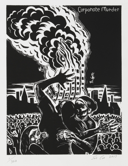 Sue Coe, 'Grenfell Tower (Corporate Murder)', 2017, Print, Linocut on white Rives BFK paper, Galerie St. Etienne