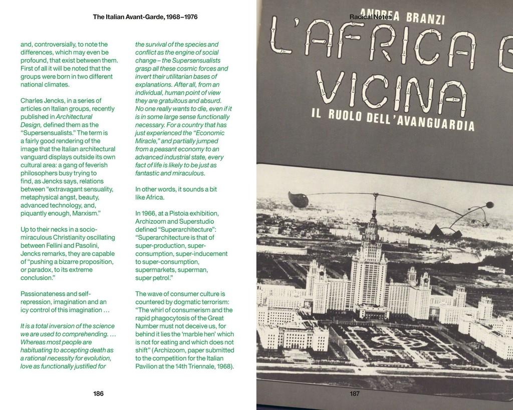 "Image: Frontispiece of Andrea Branzi, ""L'Africa è vicina,"" Casabella, no. 364, 1972. From Andrea Branzi, ""Radical Notes,"" in EP1: The Italian Avant-Garde, 1968–1976, Berlin: Sternberg Press, 2013. Courtesy of Verina Gfader."