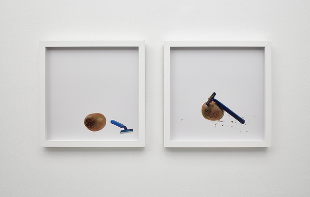 , 'kiwi and razor, kiwi shaves razor,' 2015, Klowden Mann