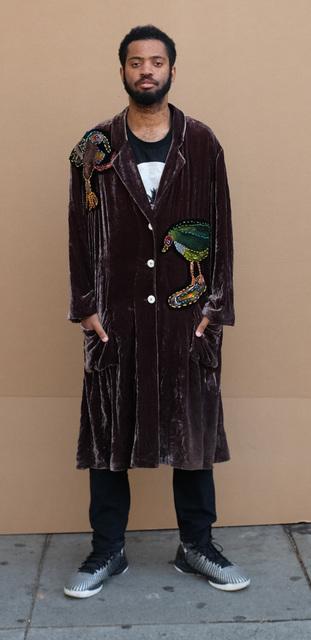 Anne Slater, 'Untitled (Velvet Robe)', 2018, Fashion Design and Wearable Art, Embroidery on velvet robe, modeled by Joseph Green, Creativity Explored