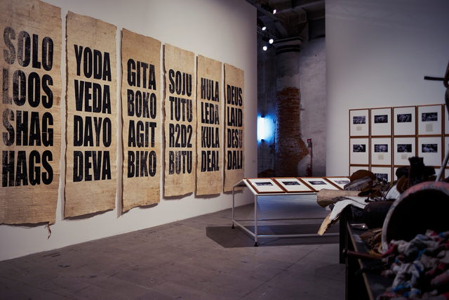 , 'Untitled (Anagrams + Objects for R.U. & R.U. (Part I) and Untitled (Black Sabbath and other Anecdotes) (Installation view),' 2015, 56th Venice Biennale