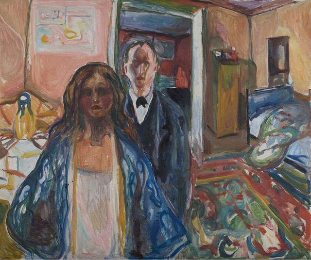 Edvard Munch, 'The Artist and his Model', 1919-1921, Painting, Oil on canvas, Museo Thyssen-Bornemisza