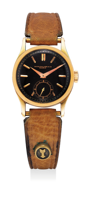 Patek Philippe, 'A fine and very rare pink gold wristwatch with black dial', 1930, Phillips