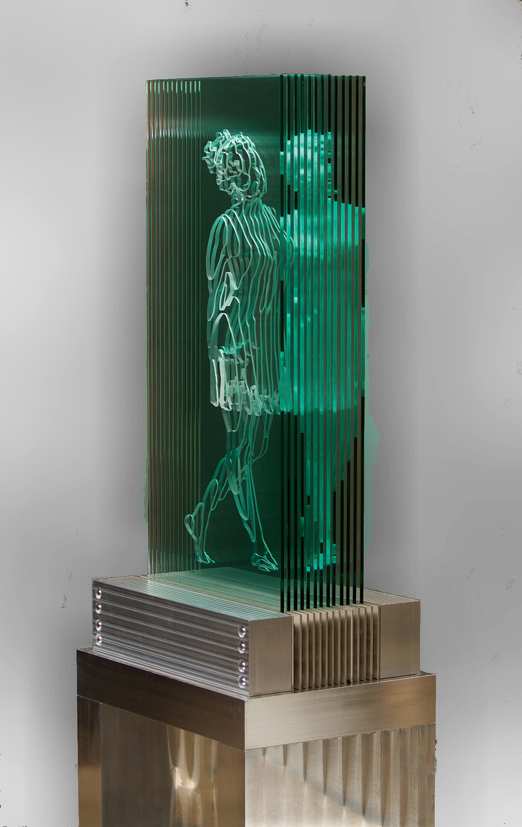 "JED MALITZ - Siren - Carved glass, aluminum, stainless - 72""x 26""x 18.5"""