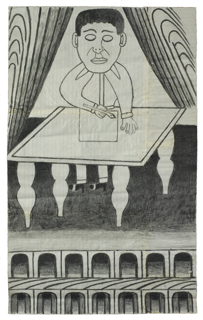 Martín Ramírez, 'Untitled (Man at Desk)', c. 1960-63, Robert Berman Gallery